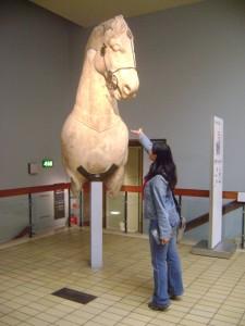 Yo, alimentando a un caballo de esos de bolsillo, que suele uno robarse de alguna de las 7 maravillas del mundo.