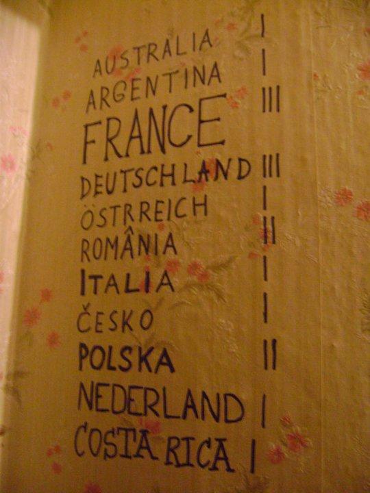 Mi contribución al muro de la fama en una casa de estudiantes. Couchsurfing en Riga, Latvia.