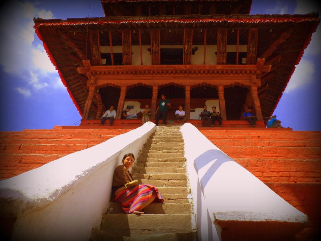 Una yo que ya no existe, en un templo que ya tampoco existe. Durbar Square, Kathmandu. Nepal.